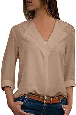 Dorical Blusa mujeres moda Camiseta de oficina Blusa de manga de rollo liso para mujer Tops Negro, gris, azul cielo, rojo vino, caqui, verde militar Parte superior suelta S-3XL: Amazon.es: Joyería