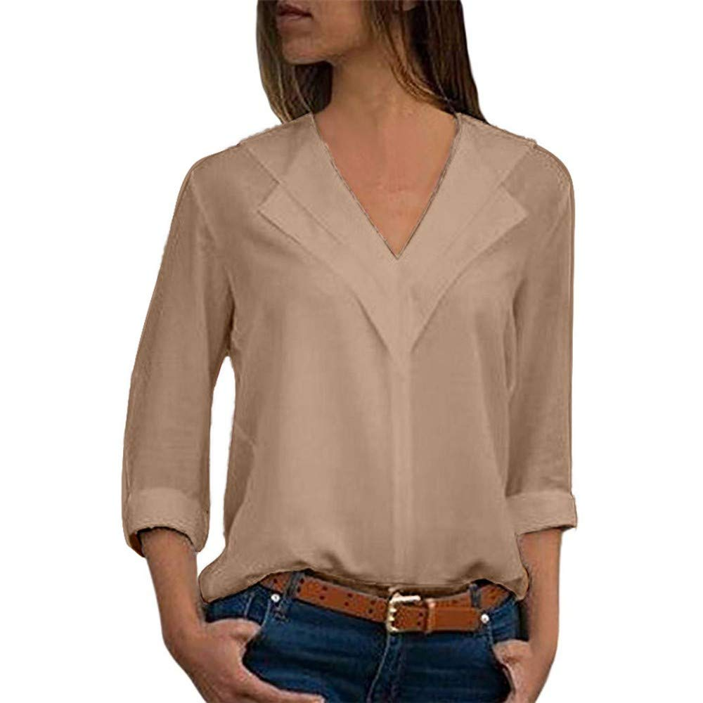 TIFENNY Fashion V Neck Business Shirt for Women Chiffon Solid T-Shirt Office Plain Roll Sleeve Blouse Tops