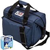 AO Coolers Canvas Series Soft Cooler with High-Density Insulation, Size 24-Can, 30 Qt. – #AO24NB – Navy Blue & Fit & Fresh Cool Coolers Slim Ice 4-Pack (Bundle) Review