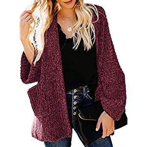 Astylish Womens Knit Sweater Long Sleeve Ribbed Chenille Pocketed Cardigan Red Plus Size XX-Large