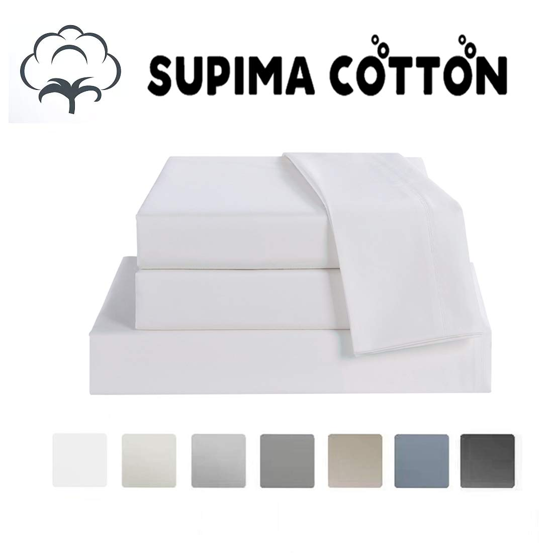 Bed Sheet Set Queen Size Sheets 4 Pieces, 600 Thread Count 100% Supima Cotton Sheets