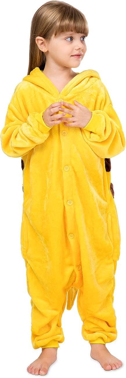 Worldstyle Kigurumi Kinder Fleece Einteiler Pyjama Kapuze Pikachu Pokemon gelb Gr L