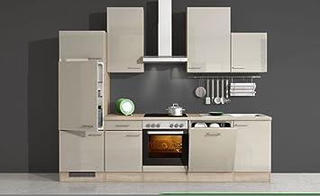 Küchenzeile 280 cm Kaschmir Glanz mit Geschirrspüler - Neapel ...