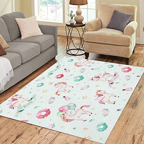 (Semtomn Area Rug 5' X 7' Cute Watercolor Unicorn Pattern Nursery Aquarelle Princess Unicornscollection Pink Home Decor Collection Floor Rugs Carpet for Living Room Bedroom Dining Room)