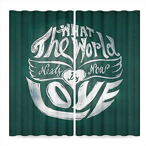 Hippie Small Window Blackout Curtains,What the World Needs Now is Love Quote Lettering Art Circle Grunge Typography Decorative,for Bedroom Living Dining Room Kids Youth Room,2 Panel Set,86W X 70L in
