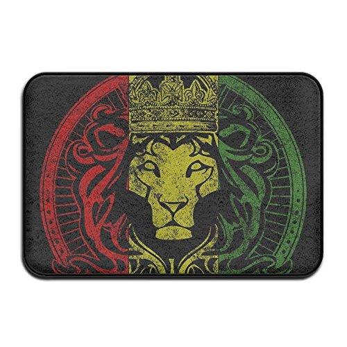 nuohaoshangmao HOMESTORES African Flag Rasta Lion Rastafari Jamaica Reggae Bath Mat - Memory Foam Shower Spa Rug Bathroom Kitchen Floor Carpet Home Decor Non Slip Backing23.6 x 15.7'' inch by nuohaoshangmao (Image #1)