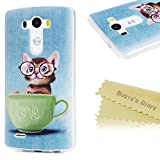 "Mavis's Diary LG G3 Case (5.5"") Shockproof Drop Protection TPU Bumper Protective Back Cover Slim-Fit Flexible Easy Grip Rubber Colorful Painting Case Cover for LG G3 - Cup/Cat"
