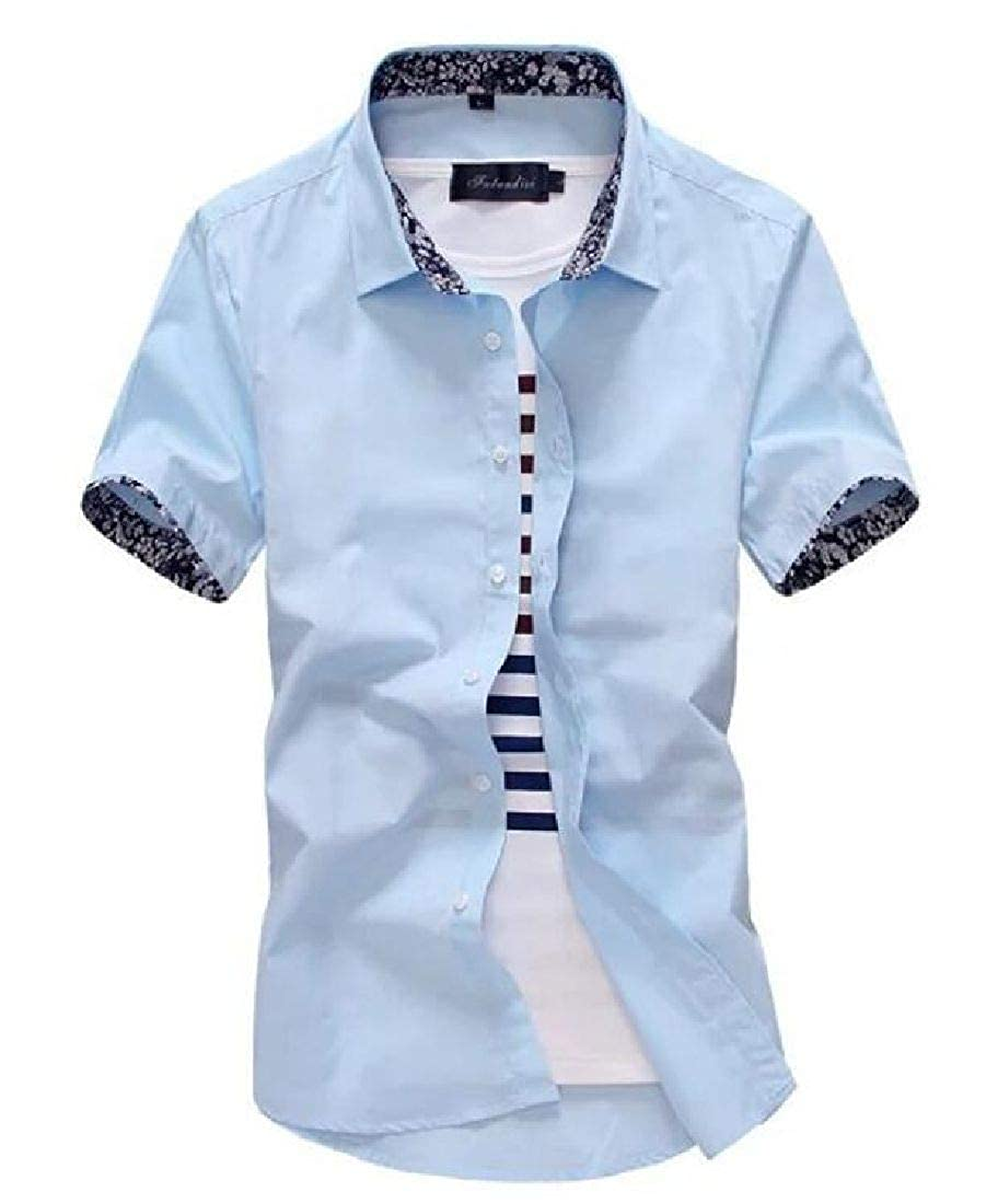 Abeaicoc Mens Slim Fit Business Short Sleeve Summer Casual Dress Button Shirts