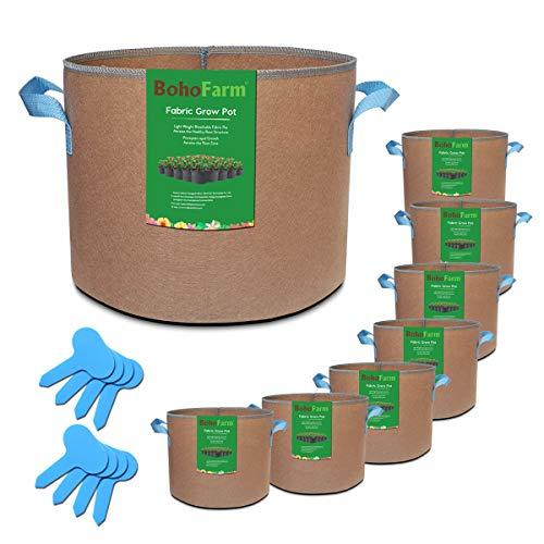 BoHoFarm 5 Gallon 8 Pack Tan Grow Bags