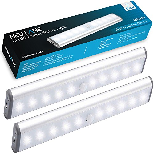 t Strip (Upgraded) - Ultra Bright Magnetic Light Bar w/ USB Rechargeable Battery & Motion Sensor Mode - Best Wireless Stick On Lighting for Under Cabinet, Counter & Closet (2 Pack) ()