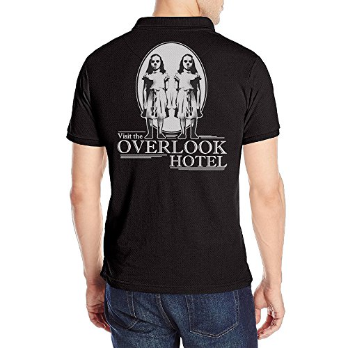 [Men's Visit Overlook Hotel Shining Horror Golf Performance Solid Short Sleeve Polo Shirt Black] (Nerf Boy Costume)