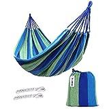 Kottle Outdoor Soft Cotton Fabric Brazilian Hammock Double Wide 2 Person Travel Camping Hammock (Blue)