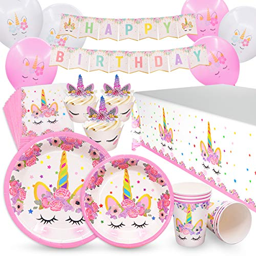 Pawliss Unicorn Party Supplies, Serves 16 Birthday Party Fav