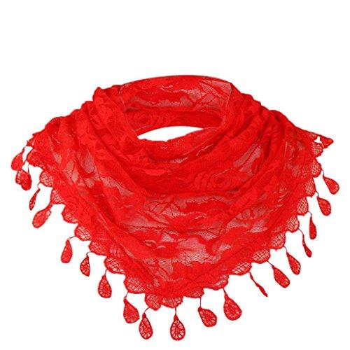 Floral Femmes Rose Mode Pure Élégant Wraps Dentelle Chic Couleur Châle Gland Écharpe Adeshop Foulards Rouge Creux Echarpe Lady Multifonctionnelle wtqYt0