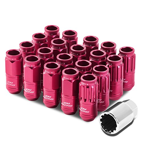 M12 x 1.5 Open End Design 16-Piece Aluminum Alloy Wheel Lug Nuts + 4 x Lock Nut + 1 x Lock Nut Key (Pink)