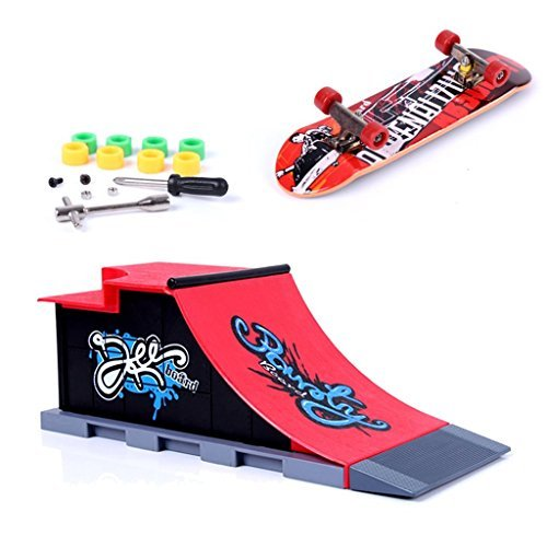Yundxi Boxed Mini Finger Board Micro Skateboard & Ramp Tools Place Boys Kids Play Set Toy