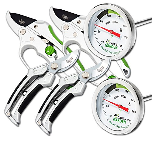 Cate's Garden 6-Piece Garden Tool Set- 2 Compost Thermometer Premium Stainless Steel, 2 Bypass & 2 Ratchet Pruning Shears 8'' Easy Action Anvil-type Hand Pruner - Heavy Duty SK5 High Carbon Blades by Cate's Garden