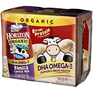 Horizon Organic Lowfat Organic Milk Box with DHA Omega-3, Vanilla, 6 Count (Pack of 3), Single Serve, Shelf Stable Organic Vanilla Flavored Lowfat Milk, Great for School Lunch Boxes or Snacks