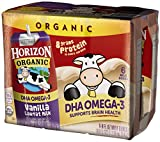 horizon dha omega 3 whole milk - Horizon Organic, Lowfat Organic Milk Box with DHA Omega-3, Vanilla, 6 Count (Pack of 3), Single Serve, Shelf Stable Organic Vanilla Flavored Lowfat Milk, Great for School Lunch Boxes or Snacks