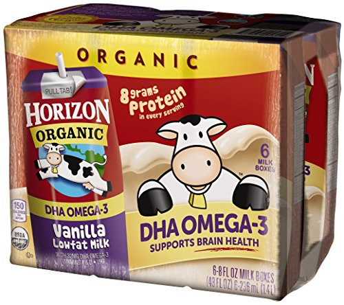 Horizon Organic, Lowfat Organic Milk Box with DHA Omega-3, Vanilla, 6 Count (Pack of 3), Single Serve, Shelf Stable Organic Vanilla Flavored Lowfat Milk, Great for School Lunch Boxes or Snacks