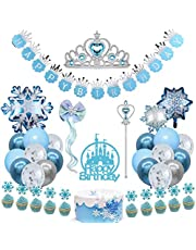 Frozen Birthday Party Supplies Snowflake Party Decorations Happy Birthday Banner Crown Wand Snowflake Hair Clip Foil Balloons Latex Balloons Cupcake Toppers for Girls Princess Birthday and Baby Shower
