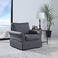 Classic Living Room Linen Fabric Accent Armchair w/ Skirt Cover (Grey)