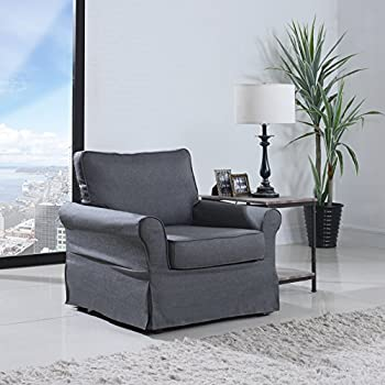 Classic Living Room Linen Fabric Accent Armchair W/Skirt Cover (Grey)