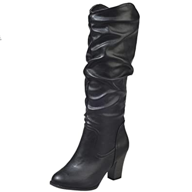 2018Women Winter Fashion PU Leather Pointed Toe Mid-Calf Pleated High Heel Combat Boots