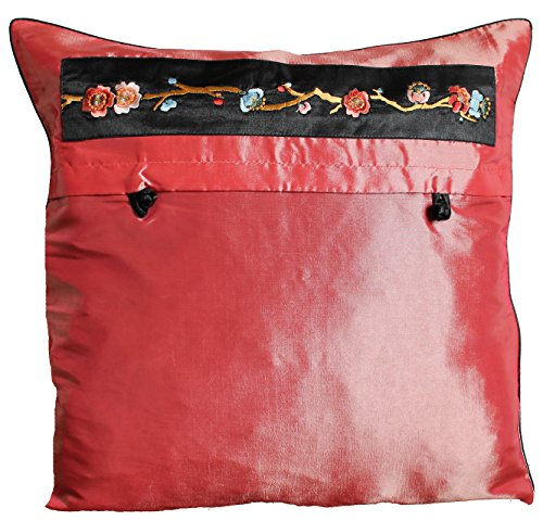 - EASTGOODIES 2 PCS/Taffeta Silk Floral Decorative Pillow Cushion Shining Cover Case Sham - Peach Orange