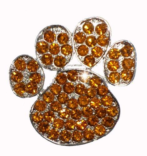 Topaz - Orange Paw Brooch Pin Pet Dog Cat Rhinestone Diamante Crystal Gem Bling Novelty (Topaz Rhinestone Accents)