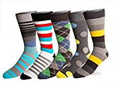 Mens 5 Pack Crew / Dress Socks - Versatile For Any Occasion By VYBE Size (9-13)