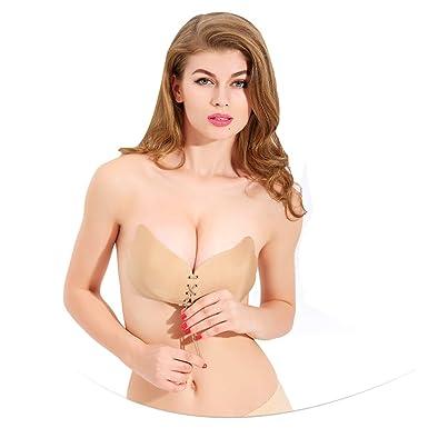 Sujetador Adhesivo, Profesional Push Up De Silicona Bra Invisible Adhesivo Reutilizable sin Tirantes Espalda para Mujer para El Vestido de La Boda: ...