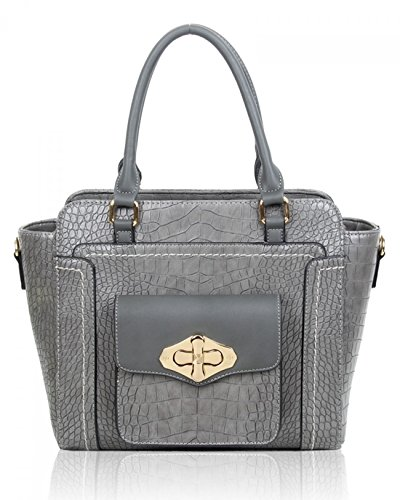 Tote Front Her Women's Handbags Holiday Grey Dark Faux Croc Print For Bag Shoulder Pocket 586 LeahWard Leather Bags PHSaq00Rw