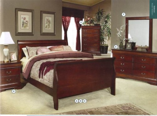 King Size Set Footboard (Coaster Home Furnishings  Louis Philippe Traditional Eastern King Sleigh Panel Bed - Cherry)