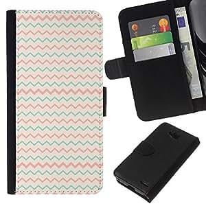 KLONGSHOP // Tirón de la caja Cartera de cuero con ranuras para tarjetas - Teal Pink Beige Patrón minimalista - LG OPTIMUS L90 //
