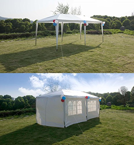 GOJOOASIS Improved Version Canopy Tent Wedding Party Tent with Metal Connectors Outdoor Gazebo White 10′ x 20′ with 6 Walls