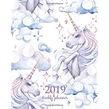 2019 Weekly Planner: Calendar Schedule Organizer Appointment Journal Notebook and Action day horse, cute unicorn art design