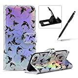Wallet Leather Case for iPhone 8,Laser Flip Leather Cover for iPhone 7,Herzzer Stylish Black Butterfly Printed Magnetic PU Leather Foldable Stand Card Holders Smart Telephone Case with Soft Inner