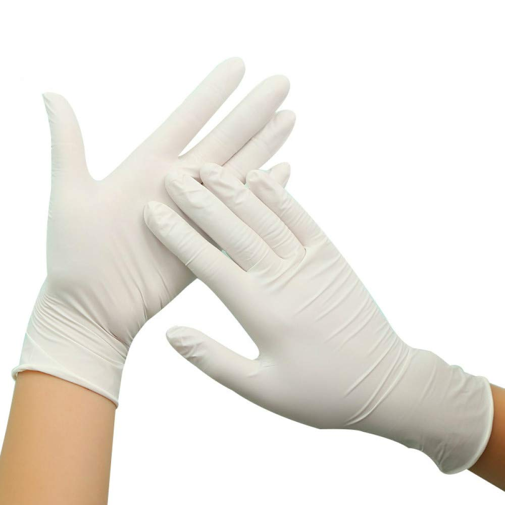 100 piezas guantes de látex desechables guantes de látex natural de alta elasticidad guantes resistentes a la perforación para cocinar alimentoslimpieza de la cocina