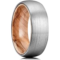 King Will Nature 8mm Men's Tungsten Carbide Ring Brushed Dome Wedding Band with Wood Inner Comfort Fit