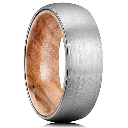 King Will NATURE 8mm Men's Tungsten Carbide Ring Brushed Dome Wedding Band with Wood Inlay Comfort Fit(11.5)