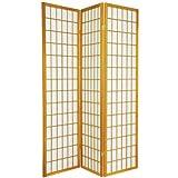 6 ft. Tall Window Pane Shoji Screen - Double Sided 3-Panel (Honey) (72''H x 53''W x 1.5''D)