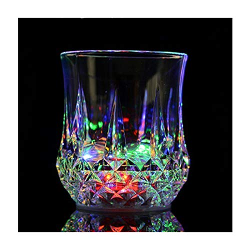 Flash Light Up Cups,[2 PCS] Automatic Water Activated LED glowing wine glasses Liquid Activated Multicolor LED Glasses -