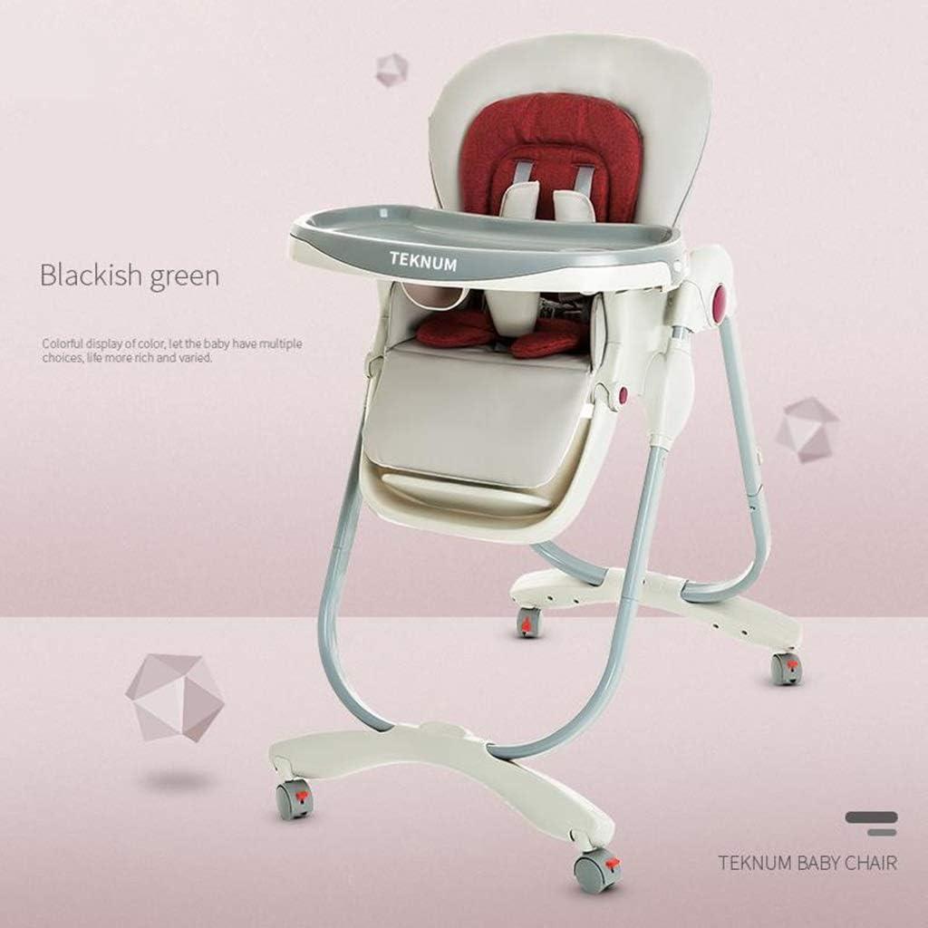 ベビーチェアハイチェア子ども椅子子供お食事椅子 幼児調節可能な折りたたみダイニングチェア赤ちゃん送り多機能4輪ハイチェア取り外し可能なダブルトレイ、7つの異なる高さ (Color : B)