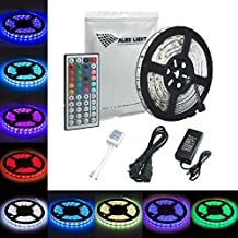ALED LIGHT 16.4FT/5M Waterproof Flexible Strip 300 Led Color Changing RGB SMD 5050 Led Strip Kit+44 Key Remote+12V/5A Power Supply , Rope Light for Halloween & Party Decorations Indoor & Outdoor Use