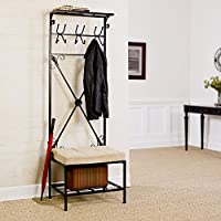Entryway Hall Tree - Mudroom Rack Storage Organization Shelves Furniture Indoor Room Home