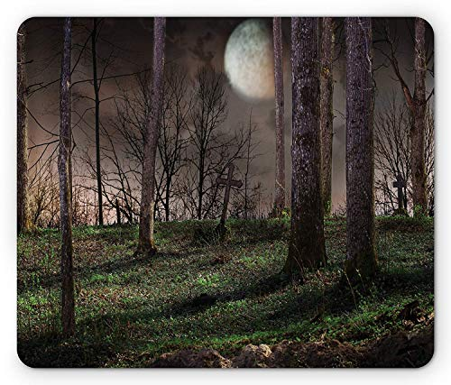 Gothic Mouse Pad, Dark Night in The Forest with Full Moon Horror Theme Grunge Style Halloween, Standard Size Rectangle Non-Slip Rubber Mousepad, Brown Green Yellow -