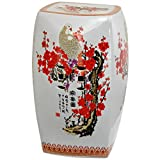 Cheap ORIENTAL FURNITURE 18″ Square Cherry Blossom Porcelain Garden Stool
