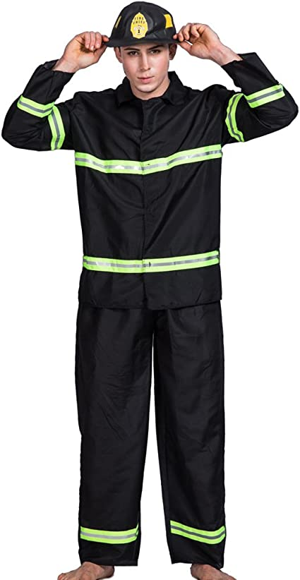 Fireman Costume Adult Firefighter Halloween Fancy Dress