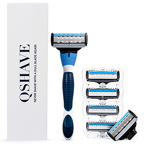 QSHAVE Blue Series Manual Men's Shaving Razor with X5 Blade (5-Blade) Replacement Cartridges/Refills (1 Razor + 6 Cartridges) by QSHAVE